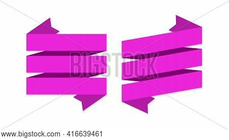 Pink Ribbons Banners. Geometric Festive Wavy Blank Tapes Simple Collection, Empty Satin Decorative L