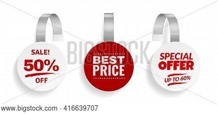 Wobblers For Discount . Sale Red Color Sign For Advertising, Design Of Strips Hanging Round Wobbler