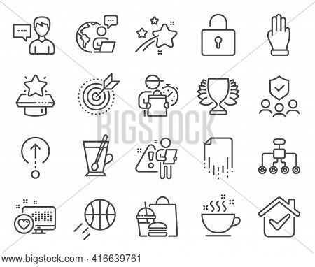 Line Icons Set. Included Icon As People Insurance, Tea Mug, Coffee Cup Signs. Recovery File, Person