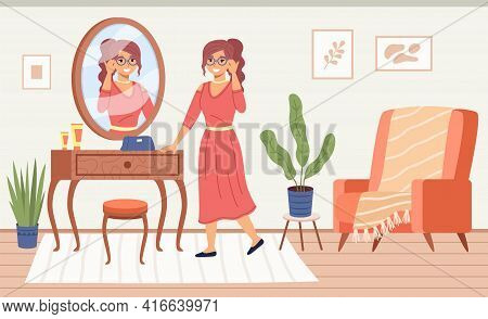 Lady In Mirror. Pretty Woman Specular Reflect In Room Interior, Dressing Table With Cosmetics, Try F