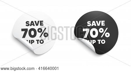 Save Up To 70 Percent. Round Sticker With Offer Message. Discount Sale Offer Price Sign. Special Off