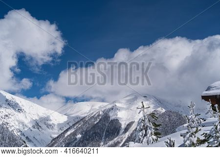 Panoramic View The Caucasus Mountains Of The Ski Resort Krasnaya Polyana, Sochi, Russia
