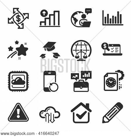 Set Of Education Icons, Such As Cloud Sync, Throw Hats, Online Accounting Symbols. Bar Diagram, Reco
