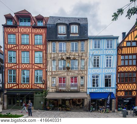 Rouen, France, Oct 2020, View Of Rue Martainville A Cobblestoned Street In The Pedestrian Center Wit