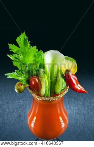 Bloody Mary, A Summer Drink, With Sauce, Vodka And Vegetables. Typical Drink From France