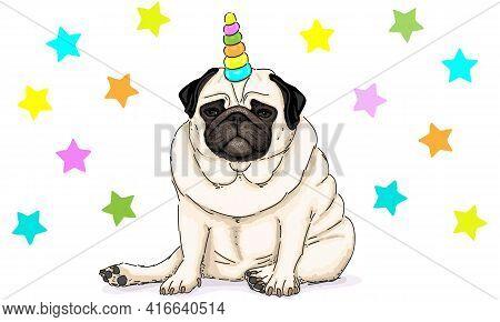 Funny Vector Hand Drawn Illustration Of Unicorn Pug Dog Sitting Down, With Stars