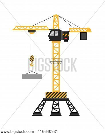 Industrial Yellow Truck Mounted Crane And Lifting Generator. A Construction Crane With A Cabin Lifts