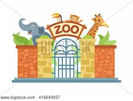 Zoo Entrance Gate. The Zoo Is Home To An Elephant, A Giraffe, A Monkey, A Parrot. Vector Illustratio