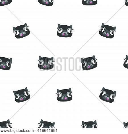 Seamless Pattern Of Pug Dog Head.