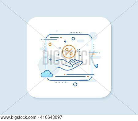Loan Percent Line Icon. Abstract Square Vector Button. Discount Sign. Credit Percentage Symbol. Loan