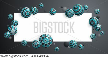 Abstract Glossy Realistic Spheres Vector Background With Blank Paper Sheet, Composition Of Flying Ba