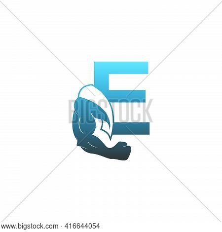 Letter E Logo Icon With Muscle Arm Design Vector Illustration
