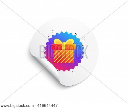 Gift Box Banner. Circle Sticker With Offer Banner. Discount Sale Sticker. Coupon Present Icon. Round