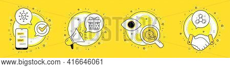 Vip Timer, Gift Box And Face Biometrics Line Icons Set. Cell Phone, Megaphone And Deal Vector Icons.
