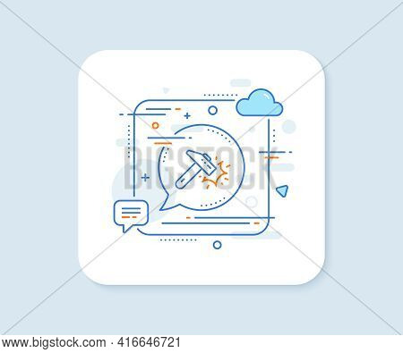 Hammer Blow Line Icon. Abstract Square Vector Button. Crash Protection Sign. Repair Tool Symbol. Ham