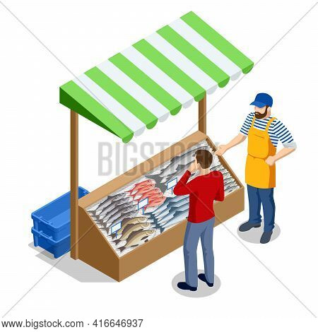 Isometric Fresh Fish And Seafood Sale Market. Fresh Fish In The Fresh Market Or Supermarket Cooled F