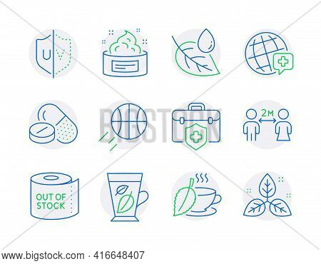 Healthcare Icons Set. Included Icon As Medical Drugs, Medical Insurance, Uv Protection Signs. Leaf D