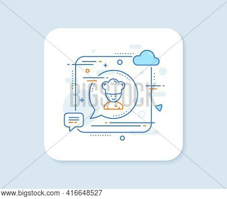 Cooking Chef Line Icon. Abstract Square Vector Button. Sous-chef Sign. Food Preparation Symbol. Cook