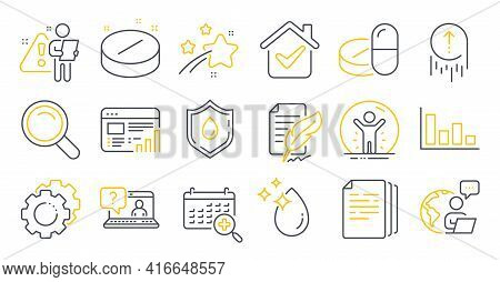 Set Of Science Icons, Such As Web Report, Recovered Person, Water Drop Symbols. Swipe Up, Histogram,