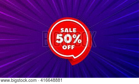 Sale 50 Percent Off Sticker. Purple Background With Offer Message. Discount Banner Shape. Coupon Bub