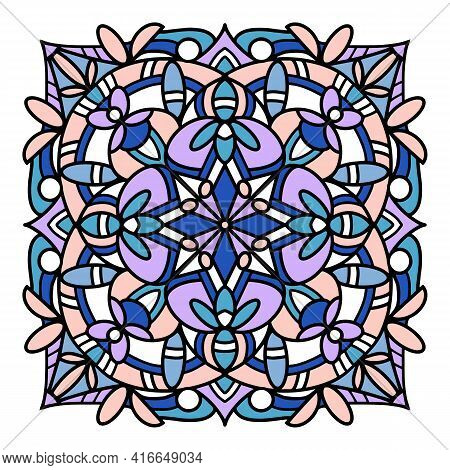 Glass Mandala Icon. Hand Drawn And Outline Illustration Of Glass Mandala Vector Icon For Web Design