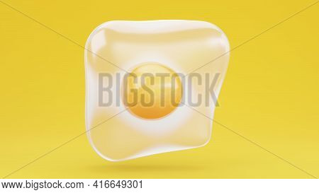 A Raw Floating Egg Colorful Bright Image. Food On Colorful Background. Bright Abstract Render With Y
