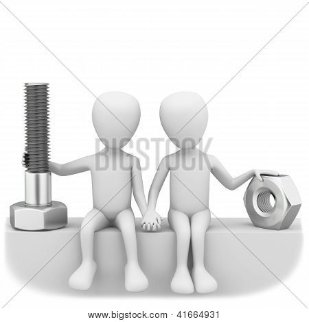 3D Men Holding The Bolt And Nut.