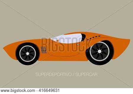 European Supercar Flat Icon, Side View, Flat Design Style, Illustration, Fully Editable