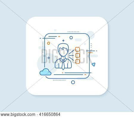 Third Party Line Icon. Abstract Square Vector Button. Team Leader Sign. Business Conversation Symbol
