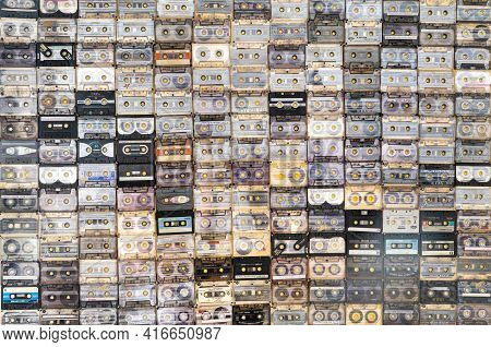 March 28,2021, Minsk, Belarus.a Huge Collection Of Audio Cassettes. Retro Music Background