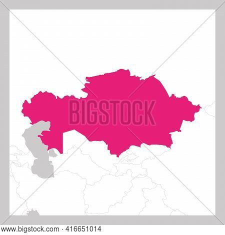 Map Of Kazakhstan Pink Highlighted With Neighbor Countries.