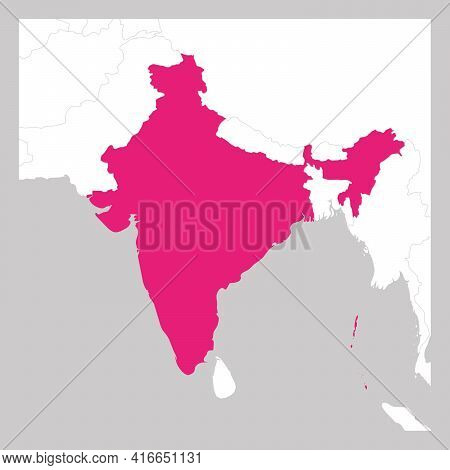 Map Of India Pink Highlighted With Neighbor Countries.