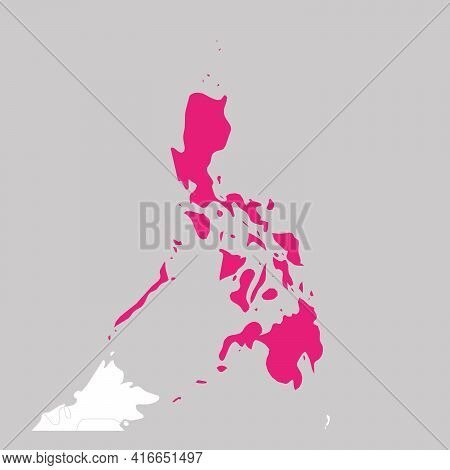 Map Of Philippines Pink Highlighted With Neighbor Countries.