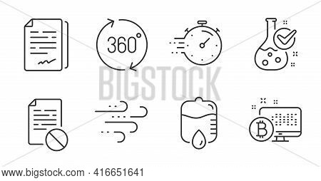 Drop Counter, 360 Degrees And Wrong File Line Icons Set. Chemistry Lab, Timer And Bitcoin System Sig