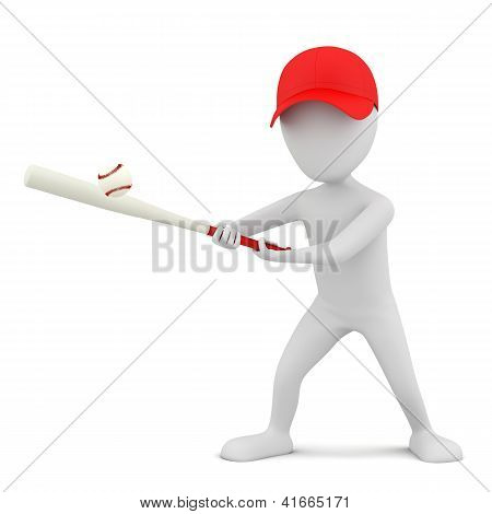 3D Small Person - Playing Baseball.