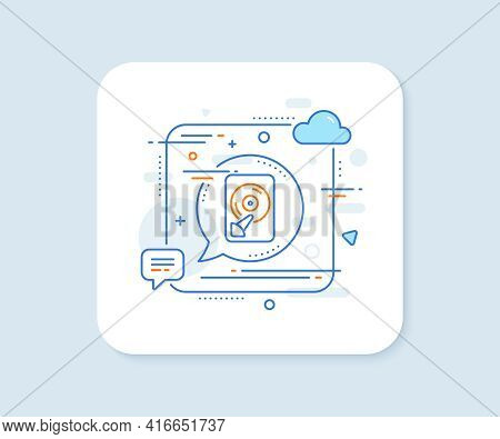 Hdd Line Icon. Abstract Square Vector Button. Computer Memory Component Sign. Data Storage Symbol. H
