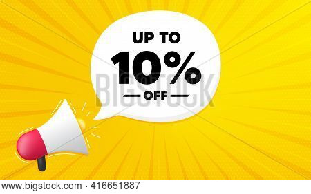 Up To 10 Percentoff Sale. Yellow Background With Megaphone. Discount Offer Price Sign. Special Offer