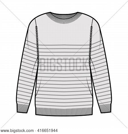 Sailor Sweater Striped Pullover Technical Fashion Illustration With Rib Crew Neck, Long Sleeves, Ove