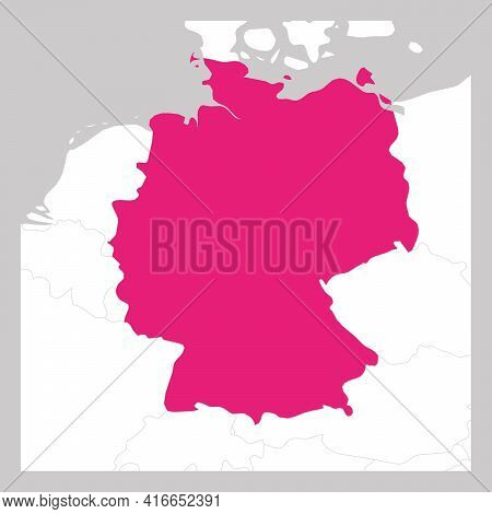 Map Of Germany Pink Highlighted With Neighbor Countries.