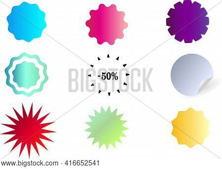 Sticker, Label With A Price Tag. Set Of Round Multicolored Starburst Icons. Round Form. Product Labe