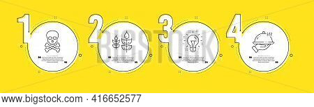 Gluten Free, Idea And Chemical Hazard Line Icons Set. Timeline Process Infograph. Restaurant Food Si