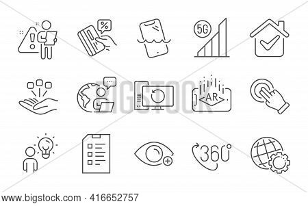 Credit Card, Smartphone Waterproof And Recovery Computer Line Icons Set. Globe, Touchscreen Gesture