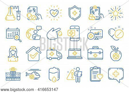 Medical Rx Line Icons. Hospital Assistance, Ambulance, Health Food Diet, Laboratory Tubes Icons. Fir