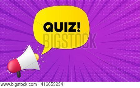 Quiz Symbol. Background With Megaphone. Answer Question Sign. Examination Test. Megaphone Banner. Qu