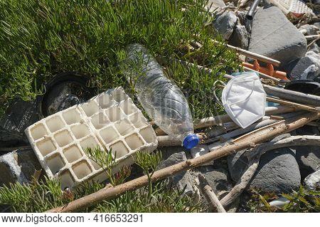 Marine Sea Ecosystem Contaminated With Plastic Debris And Used Face Maskcpollution, Environmental Wa