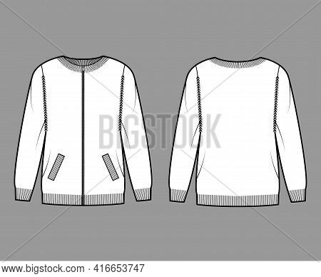 Zip-up Cardigan Sweater Technical Fashion Illustration With Rib Crew Neck, Long Sleeves, Oversized,