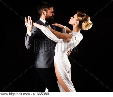 Couple Dance. Ballroom Dancing. Dancing, Salsa, Tango, Waltz. Couple In Tender Passion.