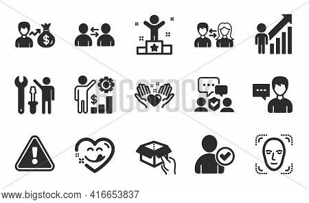Person Talk, Identity Confirmed And Sallary Icons Simple Set. Yummy Smile, Face Detection And Employ