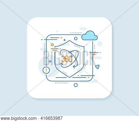 360 Degree Line Icon. Abstract Vector Button. Full Rotation Sign. Vr Technology Simulation Symbol. F