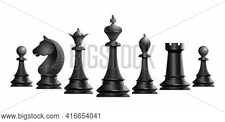 Set Of Black Chess Pieces. Chess Piece Icons. Board Game. Vector Illustration Isolated On White Back